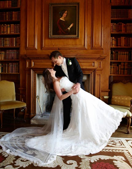 Tudor Photography wedding services bride and bridegroom in manor study